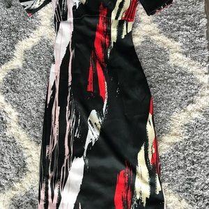 H&M Dresses - Black, Red & White Off Shoulder Midi-Dress